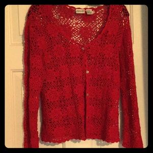 Newport News red textured button downcardigan